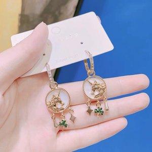 S1160 Hot Fashion Jewelry unicorn Shamrock Shell Earrings Elegant Eardrop Earrings