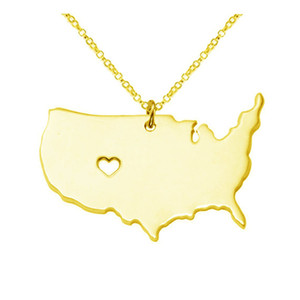 US-Staats-Karte Halskette Rose Gold USA State Geographie Karte Anhänger-Halsketten-Charme-Schmuck Gold Edelstahl Halskette