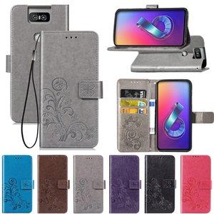 Cüzdan Kart Yuvası El Kay ile Asus Zenfone 6 ZS630KL Kılıfları PU Deri Kapak Şanslı Dört Clover (ZS630KL) için