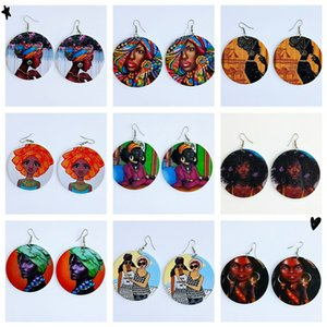 Europe and the United States explosion models Africa series round printed wooden earrings boho style with the fashion wood earrings