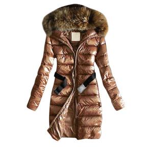 Parkas с капюшоном Parkas с капюшоном меховые девочки длинные зима пуховые куртки хлопчатобумажная одежда вскользь открытый теплый толстовки верхняя одежда джемпер E6751