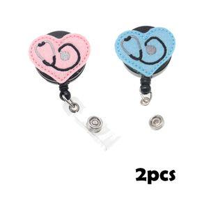 Hot Sale Lovely Pink Or Blue Medical Nurse Heart shaped Earpiece Felt ID Badge Holder For Gift