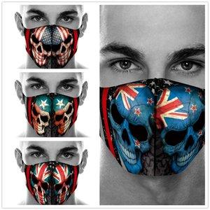Drapeau américain Pays fantôme Tête d'impression Masque Coton jeu poussière Halloween crâne cosplay masques visage Masquerade Party réutilisable Soins du visage