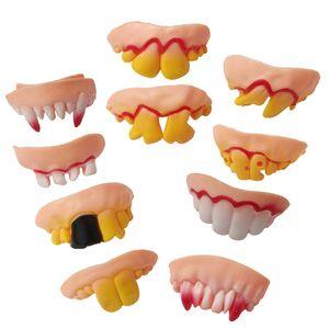 10pcs / Dentes Set engraçado Dentadura Decoração de Halloween Prop Toy Camera escondida interessantes Prank Fun Horror Shocker Novidade Gadget VT0476