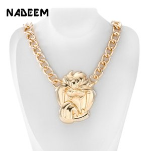 NADEEM новые мужские хип-хоп золотой цвет ожерелье ювелирные изделия старинные панк дизайн большой ревущий Лев голову кулон ожерелье цепь