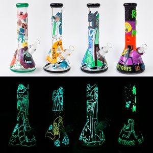 "Glow in the Dark 12 ""Glass Beaker Bongs 7MM 유리 물 파이프 dab rig 오일 버너 흡연 액세서리 흡연 파이프 무료 배송"