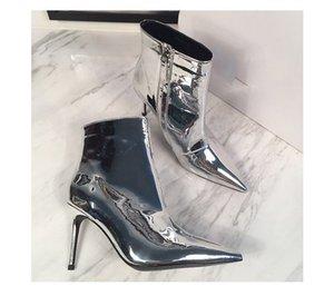 Pist Moda Metalik Deri Bayan Diz Yüksek Boots Altın Gümüş çizmelere Kısa Uzun Botaş Bayan Gelinlik Ayakkabı Büyük Beden Yüksek topuklu