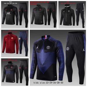 2020 survetement Enfant PSG costume de survêtement formation de soccer Rome 19/20 enfants de football maillot de pied PARIS X JORDAM enfant veste de jogging trac