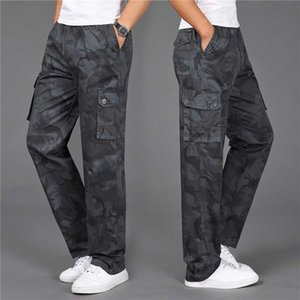 Camouflage Cargo Pants Men Casual Cotton Multi-Pocket Joggers Elastic Baggy Streetwear Hip Hop Long Straight Trousers