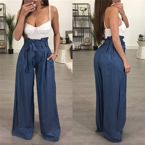 Wide Leg Summer Womens Ruffle Loose Casual Trousers Solid Color High Waist Womens Designer Wide Leg Oversize Pants
