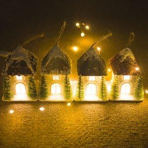Christmas Snow House Подвеска Рождество деревянный коттедж Творческий Пластиковые С света Украшение отеля Wedding Night Light украшения Рождество D