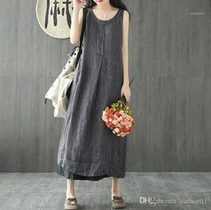 Boyun Kolsuz Midi Kadın Giyim Günlük Edebiyat Stil Moda Giyim Kadın Yaz Çizgili Keten Elbiseler Ekibi Relaxed