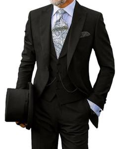 Düğün 2020 Yeni Özel Made Slim Fit Tek Breasted Damat Erkekler Suits Nedensel Balo Damat smokin 3 Pieces İçin Mavi Erkekler Suit