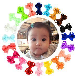 2 дюйма Детские лук Шпилька Малой мини Grosgrain лента луки волосы зажимают ребенок девочка Твердых зажимы волос Детские аксессуары для волос 20 цветов M870