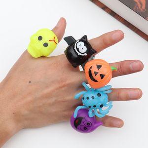 Halloween Kunststoff Flash Fingerring LED Leucht Licht Ringe Für Party Halloween Weihnachten Kinderspielzeug Kürbis Schädel Spinne party ring