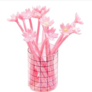 jolis stylos gel sakura roses nouveauté encre noire fleur de cerisier gel de silicone stylos neutres signature stylos encre gel fournitures scolaires fournitures de bureau papeterie