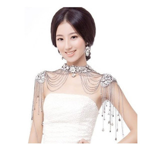Casamento Vintage ombro nupcial Colar Partido corpo Ombro Cadeia Rhinestone gota colar de cristal Acessórios de casamento Jóias