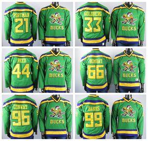 Mighty Ducks Maillots 21 Portman Maillots Jersey 33 Goldberg 44 Reed 96 Conway 99 Banques 66 Bombay Brodé Mens Ice Hocke Maillots Piqué