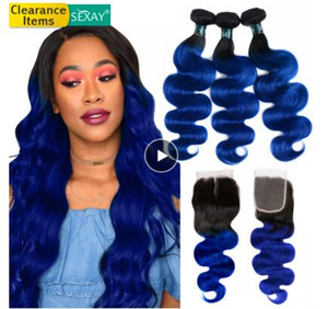 1B Blue Hair 3 Bundles Mit Verschluss Dark Roots Two Tone Ombre Menschenhaar Brasilianische Körperwelle Menschenhaar Bundles Mit Verschluss
