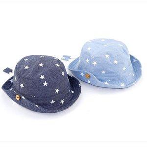 Soft Cotton Summer Baby Sun Hat Infant Boys Girls Star Bucket Hat Denim Cotton Toddler Kids Denim Cotton Tractor Cap