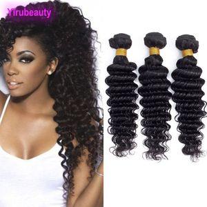 Malaysian Human Hair Three Bundles Deep Wave 3PCS lot Hair Extensions Natural Color 95-105g piece Deep Curly Wholesale Yirubeauty
