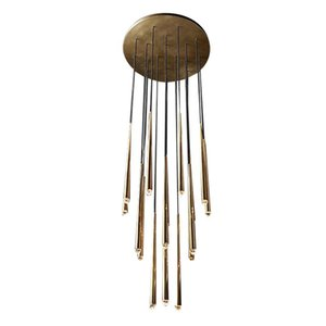 Moden luxe en laiton LED Light Gold Pendentif Métal Suspension Lustre Plafonnier Home Living Fixture Chambre CA003
