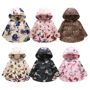 2019 зимние девушки с капюшоном печати бабочка леопард звезда мода тепловой верхняя одежда детские пуговицы милый хлопок куртка M069