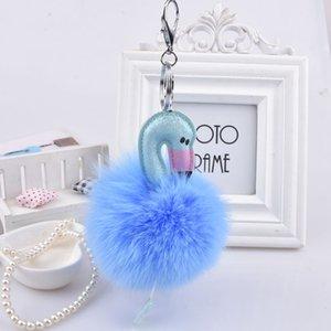 Cadeia bonito Fur bola Flamingo Chaveiros Fluffy Key Mulheres Animal Bird Car Bag Pompom Chaveiro