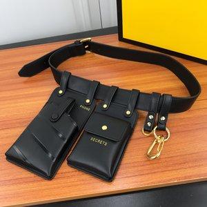 Hüfttasche Brusttasche Geldbörse Geldbörsen Passende Gürtel Handy-Taschen Schlüsselringe Feder Buckles Gold Metal Schulter-Gurt-115