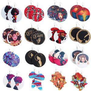 Pendientes de las mujeres redonda africana de madera pintadas pendientes del pendiente del estilo étnico gota cuelga los pendientes Conjunto