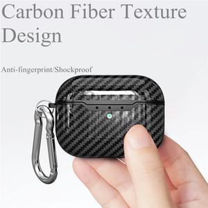 In fibra di carbonio copertura di caso per Airpods Pro Headset 4 colori soft Anti knock Custodia protettiva con il gancio per Apple Airpods 3