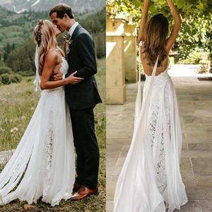 Sexy Vestidos de Casamento de Praia 2020 V Neck Lace Bohemian Wedding Dress Com Wrap Backless Boho Vestidos de Noiva Personalizado BM1512