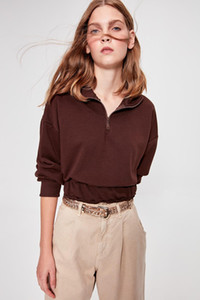 Trendyol Brown Shir Detailed Crop Knitted Sweatshirt TWOAW20SW0074