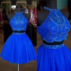 Halter frisada Rhinestone Two Pieces doce 16 Homecoming Sexy Backless Uma linha Tulle curto Royal Blue Cocktail Party Dress Prom