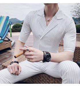 Kruvaze Takım Elbise Yaz Kostüm Siyah Beyaz Gri Mavi Şerit Takım Set Sigara Uomo Trajes De Hombre