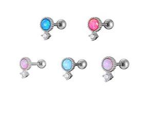10pcs Shippment libero monili del corpo-Ear Earring Tragus / Helix Bar / Stud Diath 16G Opal Stone con CZ Gems Mix colori