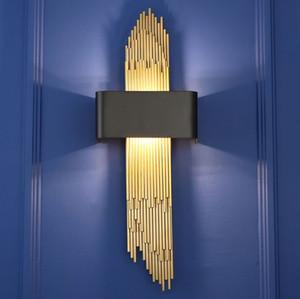 Altın Paslanmaz Çelik LED Duvar Işık Ayna Işıkları Salonu Yatak Odası Duvar Aplik Banyo Aydınlatma Çatı Dekorasyon Duvar Lambaları 110-260 V LLFA