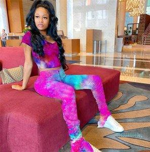 camicia Tie Dye colori T e Piano pantaloni lunghi Set Moda Tuta estate Crop Tee Tops 2 set pezzi Outfit sportivo D42108 abbigliamento femminile
