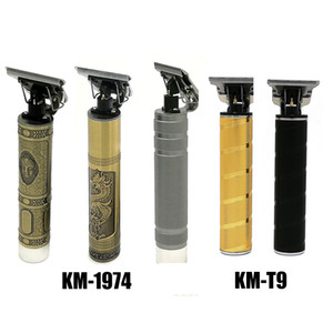 Em armazém Kemei KM-T9 KM-1974 Pro Li T-Outliner esqueleto Heavy Hitter Cordless Trimmer Homens careca Hair Clipper Finish máquina de corte