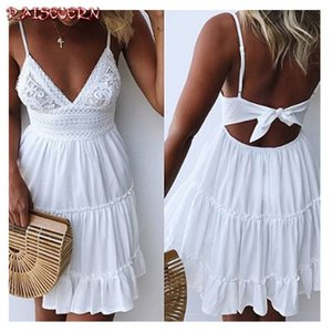 RAISEVERN S-5XL Backless Women Sexy Back Bow Dress Cocktail Party Slim Badycon Short Beach Party Mini Female Lace Dress Vestido Y200623