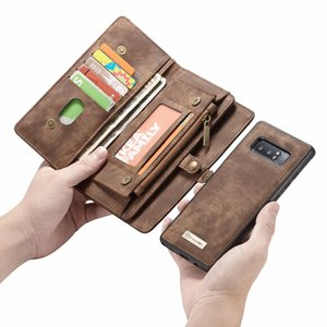 إلى Coque Samsung Note 8 Case Zipper Wallet Folio Magnetic Cover غطاء جلد حقيقي لسامسونج Galaxy S8 S9 S9 Plus Note 9 S7