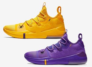 High Quality Mamba AD LAKERS PACK Basketball Shoes A.D. Lakers Amarillo purple yellow White Mens Trainers Sports With box free delivery Siz