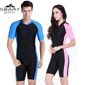 Sbart Wetsuit 수영복 여성 남성 라이크라 짧은 소매 자외선 방지 서핑 서핑 수영복 수영복 수영복 스쿠버 다이빙 정장 잠수복 C Y200613
