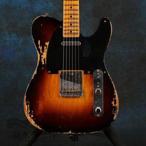 Custom Shop Handmade Vintage Sunburst Heavy Relic 1953 Tele Electric Guitar Alder Body, Maple Neck & Fingerboard, 3 Brass Saddle Bridge