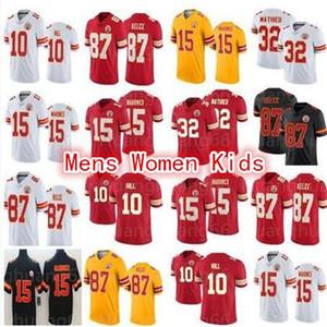 Yeni erkek 15 Patrick Mahomes 87 Travis Kelce KansasKent2020 Başformaları 10 Tyreek Tepesi Jersey kadınlar gençlik çocukları 32 Tyrann Mathi