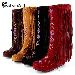 Salto Fringe Wedge Shoes WideCalf de HaoshenGirl Nação Chinesa Joelho Botas Mulheres alta Mulher Tassel Inverno Apuramento sapatos tamanho 13