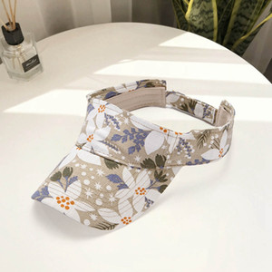 Summer Visor Hat Unisex Empty Top Sun Hat Washed Canvas Visor Print Adjustable Golf Tennis Sports Cap