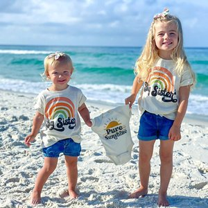 Big Sister   Little Sister T-Shirt Rainbow Family Look Pregnancy Announcement Matching Sister Shirts Children Fashion Tee