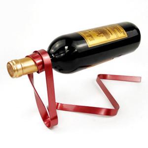 Yaratıcı renkli kurdele şarap asma şarap rafı yerçekimi denge şişe braket yenilik hediye seti stokta 6 renk standı