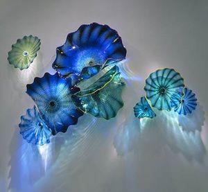 Красивые стены искусства море синий цвет украшения Художественный цветок Настенная Art Внутреннее освещение Рука выдувное стекло Мурано настенные тарелки Бра